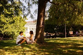A couple sitting under the trees in Vienna's Burggarten