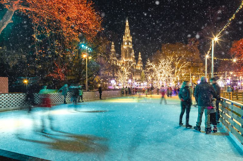 Ice-skating on City Hall Square