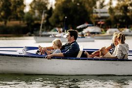 Family on a boat on the Danube