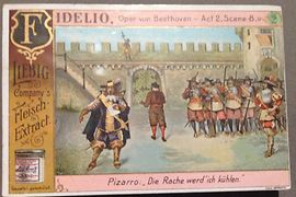 "Collectible cards of ""Liebigs Fleischextrakt"" (Liebig's Meat Extract) – scene from Beethoven's opera Fidelio"