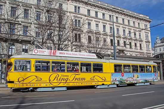 Yellow tram at the Ringstrasse in Vienna