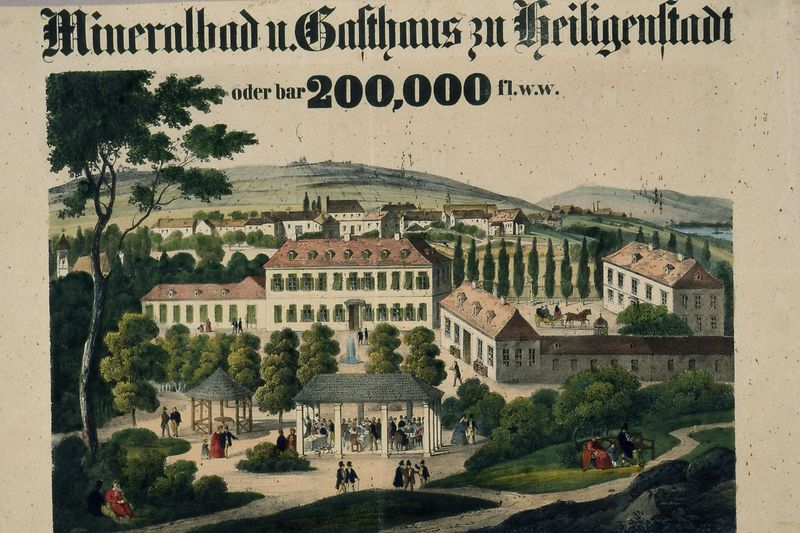 "Poster ""Mineral bath and guest house in Heiligenstadt / or cash 200,000 gulden w.w."", 1843"