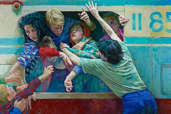 Painting of an open train window, with throngs of people hanging out of it, EXILES 1, 2017